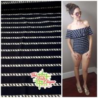 Twisted Stripes on Navy Swim/Athletic Nylon Spandex
