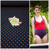 RED Polka Dot on Navy Swim/Athletic Nylon Spandex