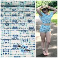 Grunge Stripes on Mint Swim/Athletic Nylon Spandex