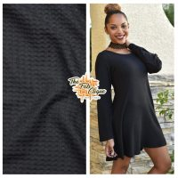 Solid Black Waffle Knit