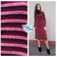Crimson Striped Hacci Sweater Knit with Metallic Thread