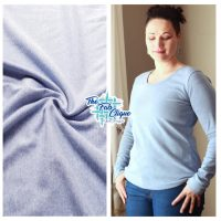 Heathered Blue Ribbing on Poly Cotton