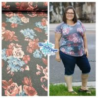 Penelope's Garden on Charcoal Disperse Poly Rayon Spandex Z