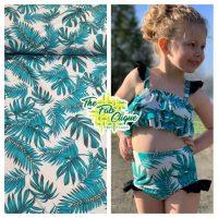Teal Tropical Leaf Swim/Athletic Nylon Spandex