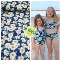 Cassie's Daisies on Navy Swim/Athletic Nylon Spandex