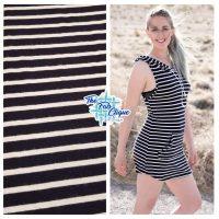 Designer Lightweight Black/Ivory Stripes Brushed Sweater Knit