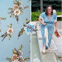 Crystal Blu Bouquet on Rayon Spandex