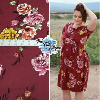 Summer Wine Floral on Burgundy Double Brushed Poly