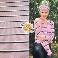 Black/Ivory Stripe on Dusty Rose Waffle Knit