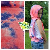 Neon Pink and Blue Tie Dye Brushed Poly Rib Knit