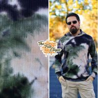 Black/Olive/Taupe Hand Tie Dye Waffle Knit