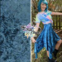 Embossed Floral Teal Blue Crushed Stretch Velvet