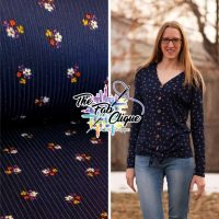 Moon River Dainty Floral Print on Navy Ribbed Knit
