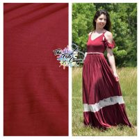 Solid Burgundy Poly Pleated/Crinkled Knit