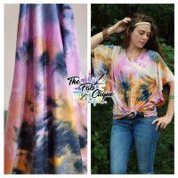 Fruit Burst Real Tie Dye on Lavander/Denim Double Brushed Poly (multi color)
