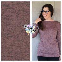 Mauve/Black Two Tone Lightweight Hacci Sweater Knit