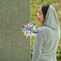 Illusions Stripes on Olive/White Slub Ribbed Knit