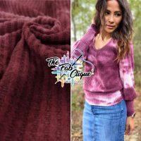 Berry Slush on Real Tie Dye Brushed Waffle Knit