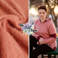 Dusty Pink on Fuzzy Hacci Sweater Knit