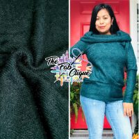 Teal on Fuzzy Hacci Sweater Knit