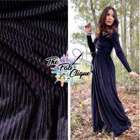 Black Vertical Shadow Velvet Stripes