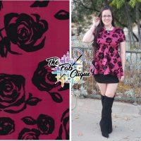 Rose Blooms with Velvet Flocking on Plum Techno/Scuba
