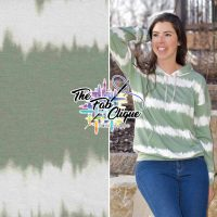 Sage Tie Dye Stripes on Baby French Terry