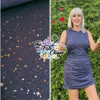 GLOW! on Two Tone Foil Navy Baby French Terry