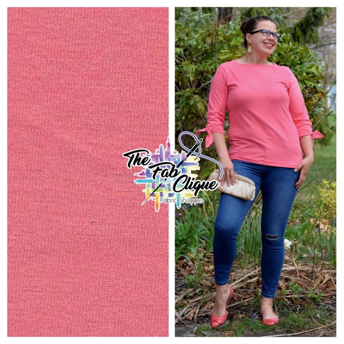 Solid Coral Bamboo Spandex