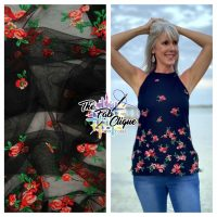 Tossed Embroidered Floral (double border) on Stretch Mesh