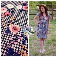 Bree's Flowers on Navy Houndstooth Double Brushed Poly