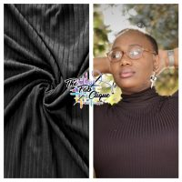 Solid Black Rayon Spandex Rib Knit