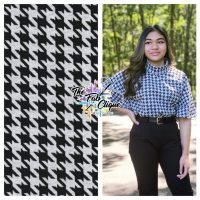 Houndstooth on Black/White Yarn Dyed Double Knit Jacquard