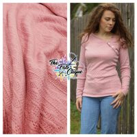 Solid Rose Sweater Cable Knit Style