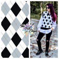 Black/Grey Argyle Ribbed Knit