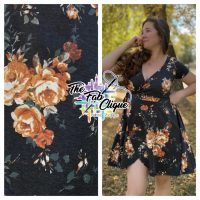 Traci Peach Floral on Charcoal Baby French Terry