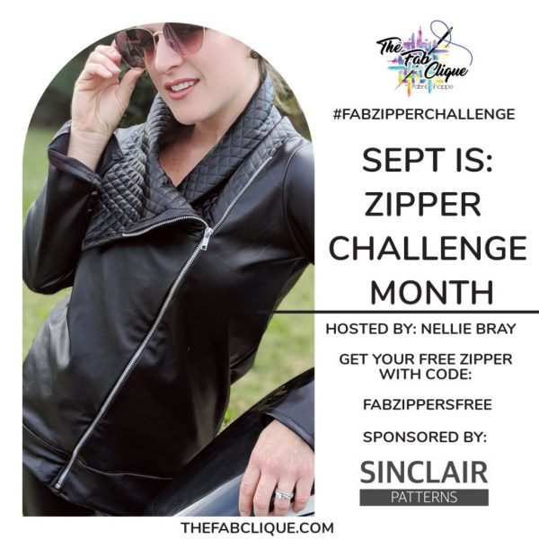 """How it works! 1) use Fab Clique fabric, 2) add a zipper of any kind to your garment, (you can get a free zipper when you buy your fabrics too! see flyer for code  3) submit a picture showcasing your zippered garment to The Fab Clique facebook group,  4) share your zippered TFC makes all round Facebook, Instagram, Tiktok and other places and add a screenshot to the """"Official Entry"""" post for more entries in our FB Group (facebook.com/groups/thefabclique  5) be sure to be following AND tag The Fab Clique in any posts so we can be sure to see it,  6) HAVE FUN!!  PRIZES TO BE WON One winner will receive a $30 gift card to The Fab Clique, a Fab Clique tote bag, and a Fab Clique keychain, and a $10 gift card from Sinclair Patterns! and One winner will receive a $20 gift card from The Fab Clique and a $10 gift card from Sinclair Patterns!  Winners will be announced Oct 1st."""